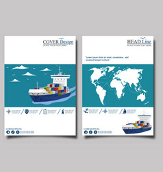 sea shipping banner template set vector image vector image