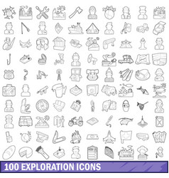 100 exploration icons set outline style vector image