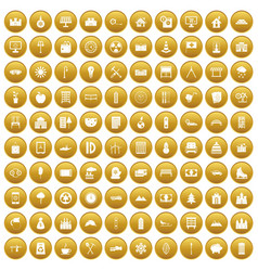 100 villa icons set gold vector