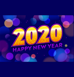 2020 happy new year typography on abstract blue vector image