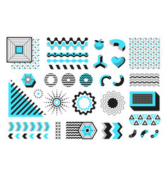 Abstract geometric shapes modern memphis line vector