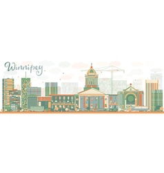 Abstract Winnipeg Skyline with Color Buildings vector