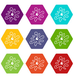 Amoeba icon set color hexahedron vector