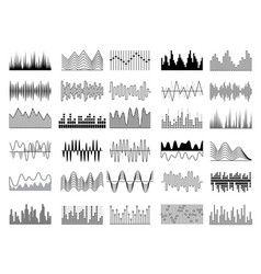 audio waves voice sound music shapes vector image