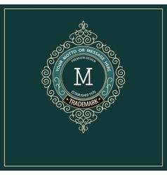 Beautiful calligraphic monogram emblem template vector image