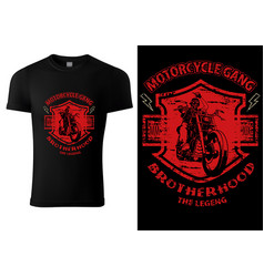 black t-shirt design with motorcyclist vector image