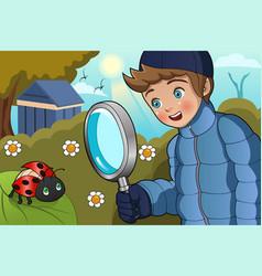 Boy looking at ladybug vector