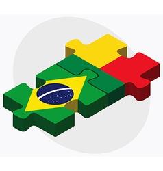 Brazil and Benin Flags vector