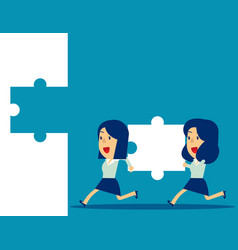 business teamwork and jigsaw concept business vector image