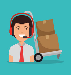 Call center agent with delivery service icons vector