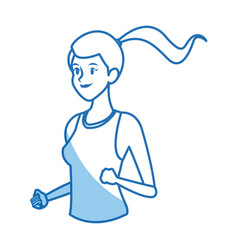Character girl sport runner practice fitness vector