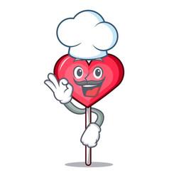 Chef heart lollipop character cartoon vector