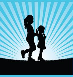 Children in nature silhouette vector
