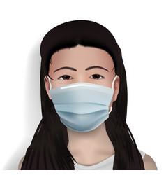 Chinese girl in corona virus medical face mask vector