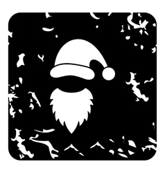 Christmas hat and white beard of Santa Claus icon vector