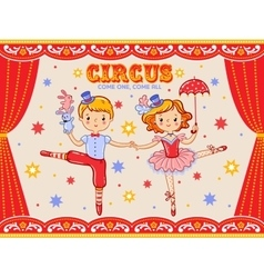 Circus vintage poster with two circus artists vector