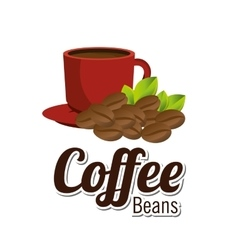 coffee beans cup red graphic vector image