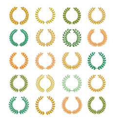 collection different colorful circular wreaths vector image