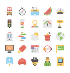 Collection of travel and holidays colored icons vector