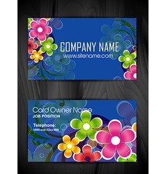 colorful floral business card template vector image