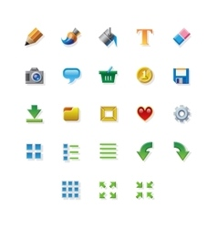 Colorful web app graphic editor tools icons on vector