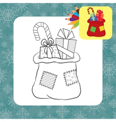 Coloring page santa bag vector