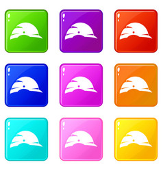 Construction helmet icons 9 set vector