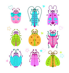 Cute cartoon bugs set vector