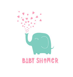 cute hand drawn pink baby shower card vector image