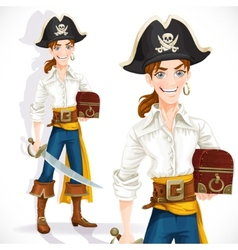 Cute pirate with cutlass and chest vector image