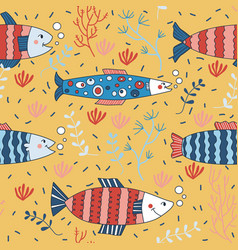 Cute seamless pattern wallpaper fish anchovy vector