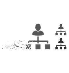 destructed pixel halftone user hierarchy icon vector image