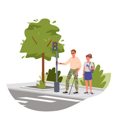 Disabled blind man on street crosswalk vector