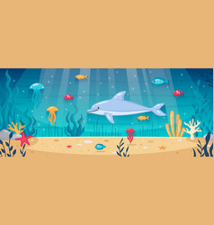 Diving underwater cartoon background vector
