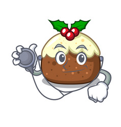 doctor fruit cake character cartoon vector image