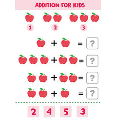 Educational math children game addition with appl vector