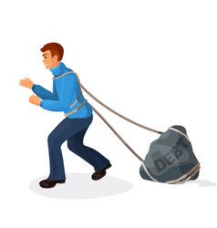 Entangled in ropes businessman pulls stone burden vector