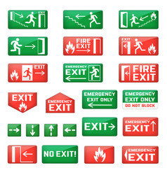 Exit emergency exit sign and fire escape vector