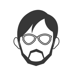 Face of man wearing glasses and beard icon vector