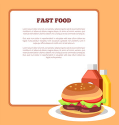 Fast food poster and burger vector