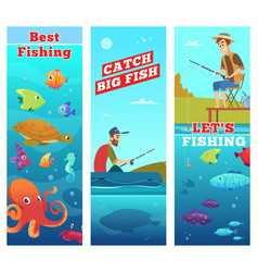 fishing banners underwater sea river ocean fish vector image
