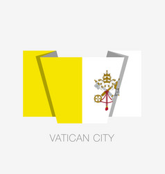 Flag of vatican city flat icon waving flag with vector