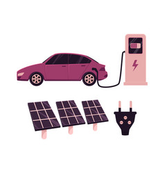 flat electric car charging solar station vector image
