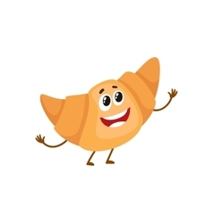 Funny croissant bread roll character vector image