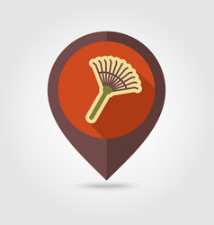 Garden rake flat pin map icon vector