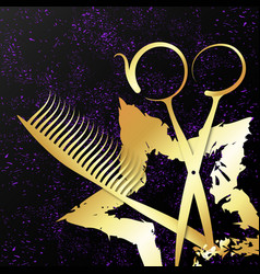 gold star and scissors for a beauty salon vector image