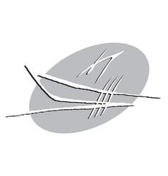 graphic image a sailing boat vector image