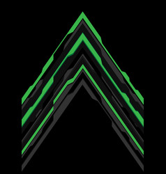 green grey arrow futuristic direction on black vector image