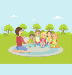 group kids sitting on plaid outdoorsteacher vector image