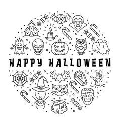 halloween icon happy halloween card circle vector image